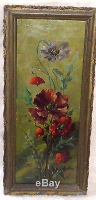 Ancien Tableau Peinture Huile Fleurs Nature Morte Coquelicots Alfredo 19eme