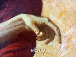 Ancien Tableau Peinture Huile Original Antique Oil Painting Old Vintage