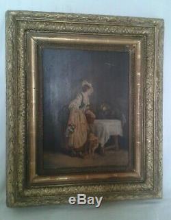 Ancien Tableau, Peinture, Huile Panneaux, Scene Interieur, XIX Eme Signee Vebert