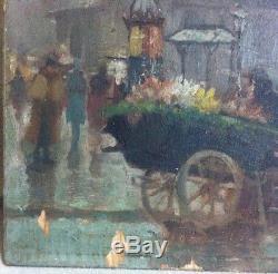 Ancien Tableau Peinture Huile Sur Bois Signer 18/19Ème