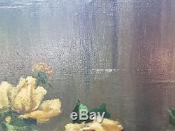 Ancien Tableau, Peinture, Huile Sur Toile, Nature Morte, Signe R Ligeron, Fleur