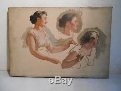 Ancien Tableau Peinture Huile Toile Etude Academique De Peintre Femme XIX Siécle