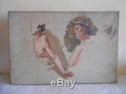 Ancien Tableau Peinture Huile Toile Etude De Peintre Femme Seins Nus XIX Siécle