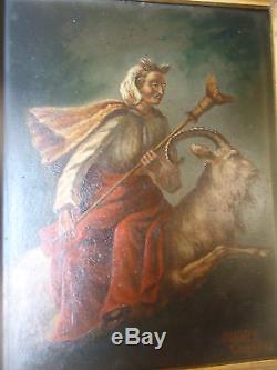 Ancien Tableau Peinture Huile sur bois theme gothique signe Ourdy Teniers