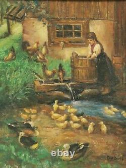 Ancien Tableau / Peinture signée DUBOIS. Cours de Ferme, poules, canards