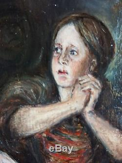 Ancien Tableau Personnages Peinture Huile Antique Oil Painting