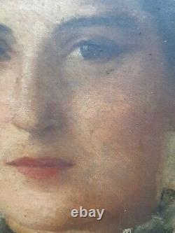 Ancien Tableau Portrait Femme Élégante XIX ème