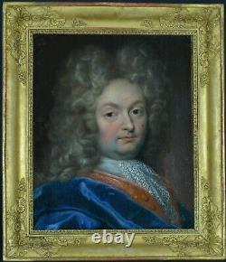 Ancien Tableau Portrait Homme Royal Costume Bleu sv François de Troy 17ème rare