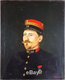 Ancien Tableau Portrait d'Officier Peinture Huile Antique Oil Painting