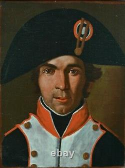 Ancien Tableau Portrait d'homme soldat bicorne Napoléon Ier Austerlitz Empire