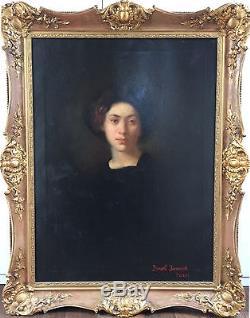 Ancien Tableau Portrait d'une dame fin XIXème-début XXème environ