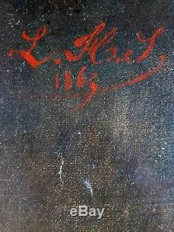 Ancien Tableau Portrait de Dame Peinture Huile Antique Oil Painting