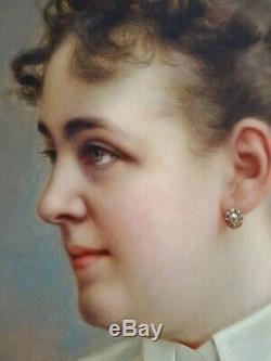 Ancien Tableau Portrait de Dame Peinture Huile Antique Oil Painting Dipinto