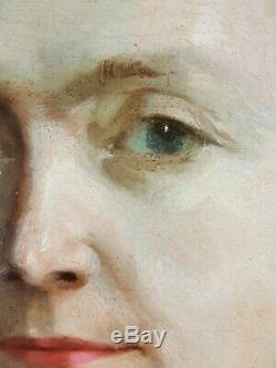 Ancien Tableau Portrait de Dame en Buste Peinture Huile Antique Oil Painting