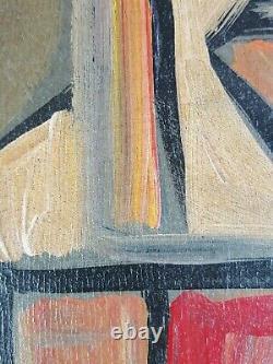 Ancien Tableau Portrait de Femme Peinture Huile Cubisme Antique Painting