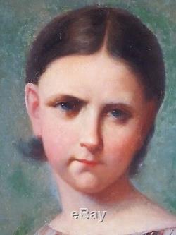 Ancien Tableau Portrait de Jeune Fille Peinture Huile Antique Oil Painting