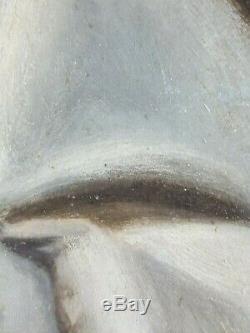 Ancien Tableau Portrait de Jeune Fille Peinture Huile Antique Oil Painting Old