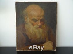 Ancien Tableau Portrait de Moine Huile sur toile XIXe 19Th