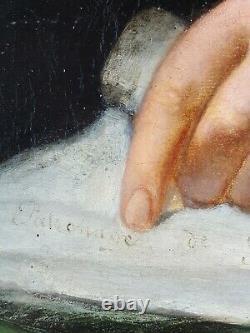 Ancien Tableau Portrait de Notable Peinture Huile Antique Oil Painting Gemälde