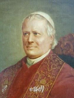 Ancien Tableau Portrait du Pape Pie IX Peinture Huile Antique Oil Painting