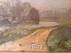 Ancien Tableau Post-Impressionnisme Chemin de Halage Huile sur carton Cadre