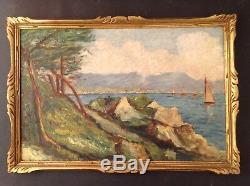 Ancien Tableau Post Impressionnisme Marine Baie d'Agay Huile style René Seyssaud
