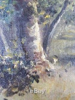 Ancien Tableau Promeneuse Peinture Huile Antique Oil Painting
