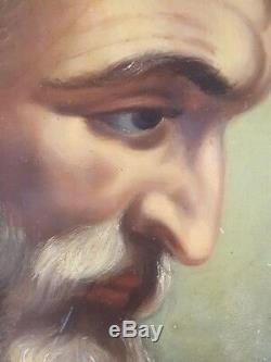Ancien Tableau Saint Joseph Peinture Huile Antique Oil Painting Ölgemälde