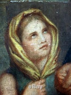 Ancien Tableau Saint Vincent de Paul Peinture Huile Antique Oil Painting