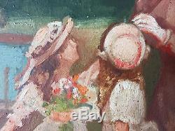 Ancien Tableau Scène Dans Un Parc Peinture Huile Antique Oil Painting