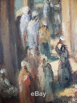 Ancien Tableau Scène De Rue En Orient Peinture Huile Antique Oil Painting
