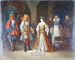 Ancien Tableau Scène au XVIIe Siècle Peinture Huile Antique Oil Painting