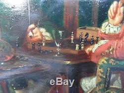 Ancien Tableau Scene d'une partie d'échec 19 eme Superbe