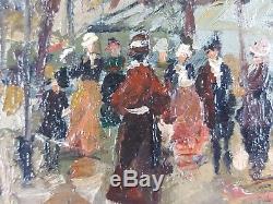 Ancien Tableau Scène de Rue à Paris Peinture Huile Antique Oil Painting