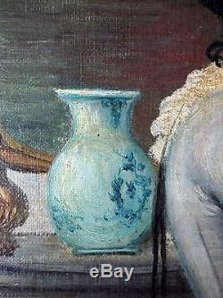 Ancien Tableau Scène de Vie sous Louis XV Peinture Huile Antique Oil Painting