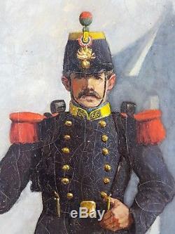 Ancien Tableau Soldat Peinture Huile Antique Oil Painting