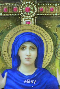 Ancien Tableau Symboliste Plaque Porcelaine Portrait Vierge Orante 19e Limoges