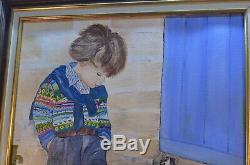 Ancien Tableau Toile Peinture Huile L Enfant Aux Chat
