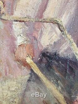 Ancien Tableau Travaux aux Champs Peinture Huile Antique Oil Painting Dipinto