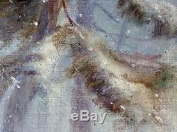 Ancien Tableau Travaux en Forêt Peinture Huile Antique Oil Painting