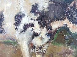 Ancien Tableau Vache à la Ferme Peinture Huile Antique Oil Painting