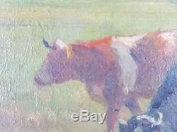 Ancien Tableau Vaches au Pré Peinture Huile Antique Oil Painting