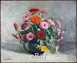 Ancien Tableau Vase De Fleurs Peinture Huile Antique Oil Painting