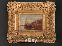 Ancien Tableau Victor Coste (1844-1923) Marseille, le Vieux Port, impressionnisme