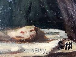Ancien Tableau Vierge De Pitié Peinture Huile Antique Oil Painting
