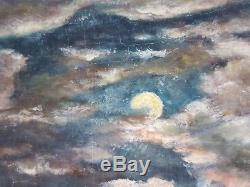 Ancien Tableau Voiliers au Clair de Lune Peinture Huile Antique Oil Painting