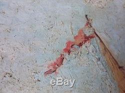 Ancien Tableau Vue du Palais des Doges Peinture Huile Antique Oil Painting