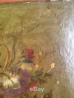 Ancien Tableau XIXe Bouquet de Fleurs Vase Médicis 19e