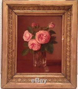 Ancien Tableau XIXe Bouquet de Rose Ecole Française Huile sur Toile Antique Oil