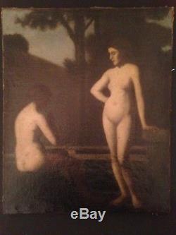 Ancien Tableau XIXe Femmes Nues sous bois Dans le Gout de Jean Jacques HENNER